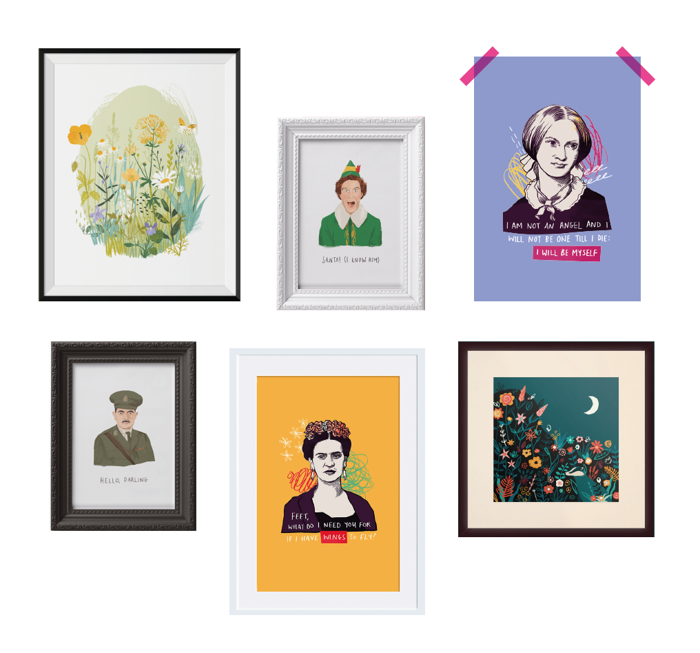 A selection of Middle Mouse art prints